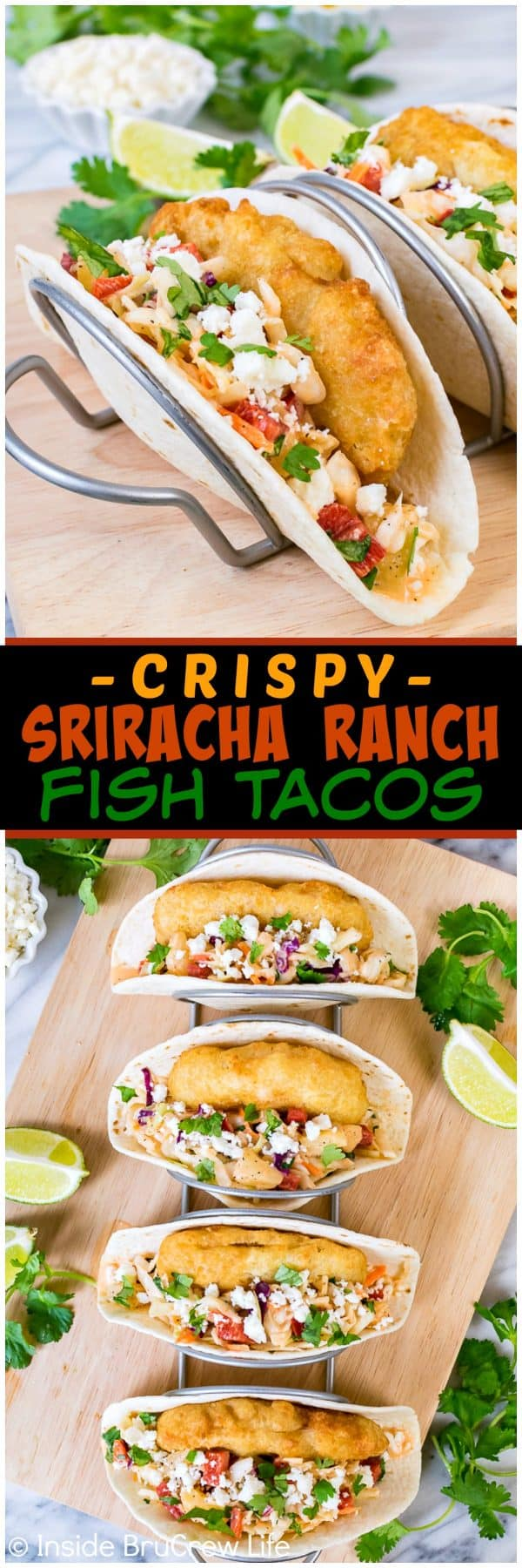 Crispy Sriracha Ranch Fish Tacos - sweet and spicy coleslaw, crunchy fish, and crumbled cheese makes this taco a great dinner choice for busy nights