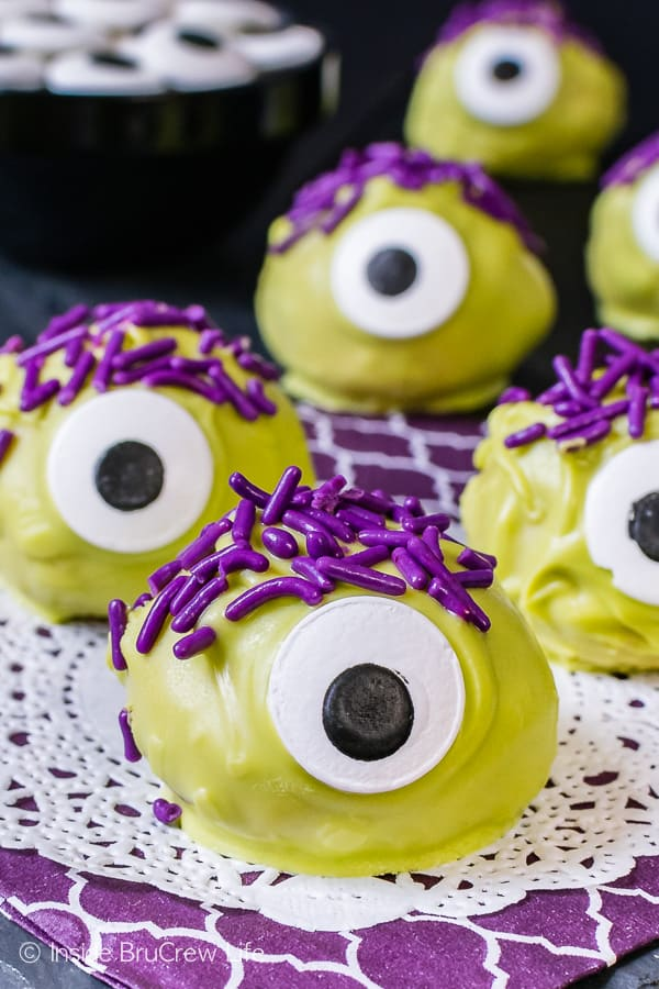 Peanut Butter Monsters - purple sprinkles and candy eyes make these easy no bake treats a fun recipe for Halloween parties!