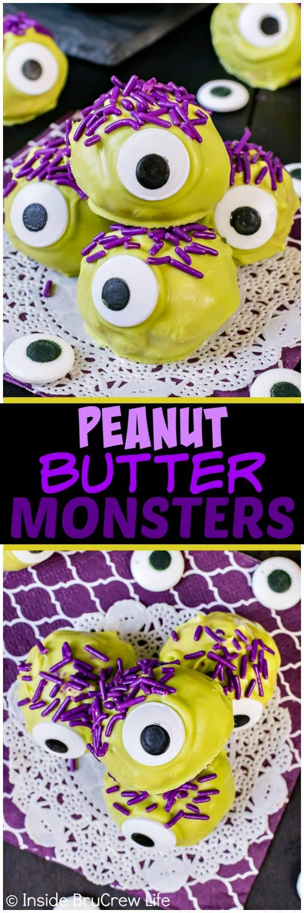 Peanut Butter Monsters - big candy eyes, green chocolate, and purple sprinkles turn these candies into a fun treat. Easy no bake recipe for halloween parties!