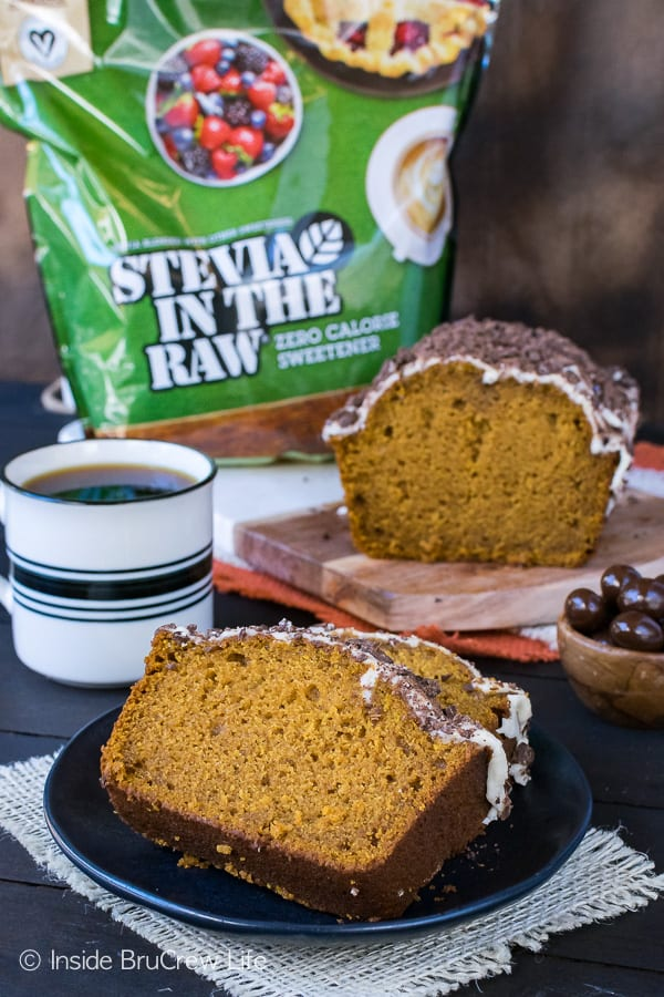 Pumpkin Spice Latte Bread - this sweet bread is made with Stevia In the Raw. It's the perfect pumpkin bread recipe for fall.