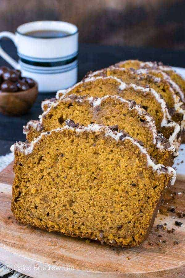 Pumpkin Spice Latte Bread - sweet pumpkin bread with a coffee glaze and chocolate covered coffee beans. Such an easy sweet bread recipe for fall!