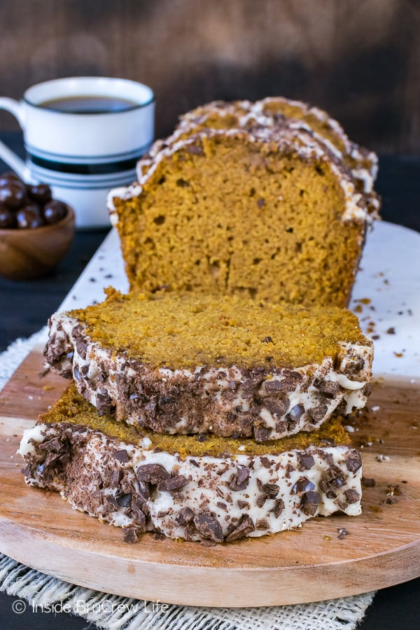 Pumpkin Spice Latte Bread - a soft sweet pumpkin bread topped with a coffee glaze and chocolate covered coffee beans is a must make recipe for fall.