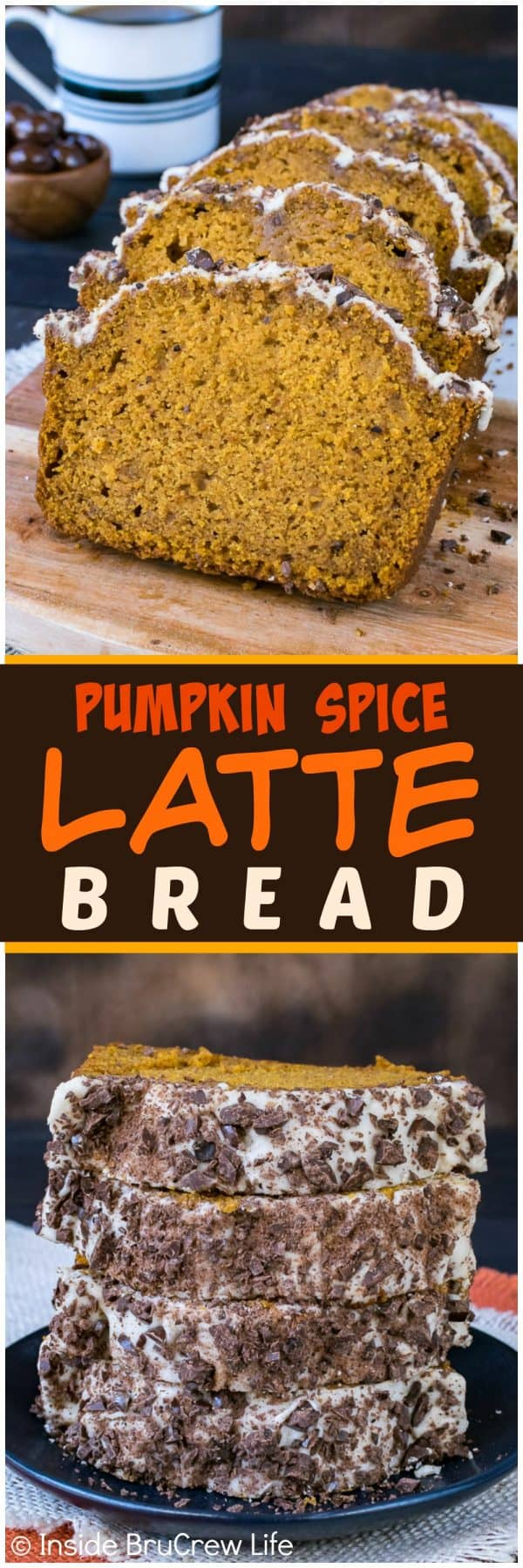Pumpkin Spice Latte Bread - this sweet pumpkin bread has a coffee glaze & chocolate covered coffee beans. Great recipe for fall breakfast!