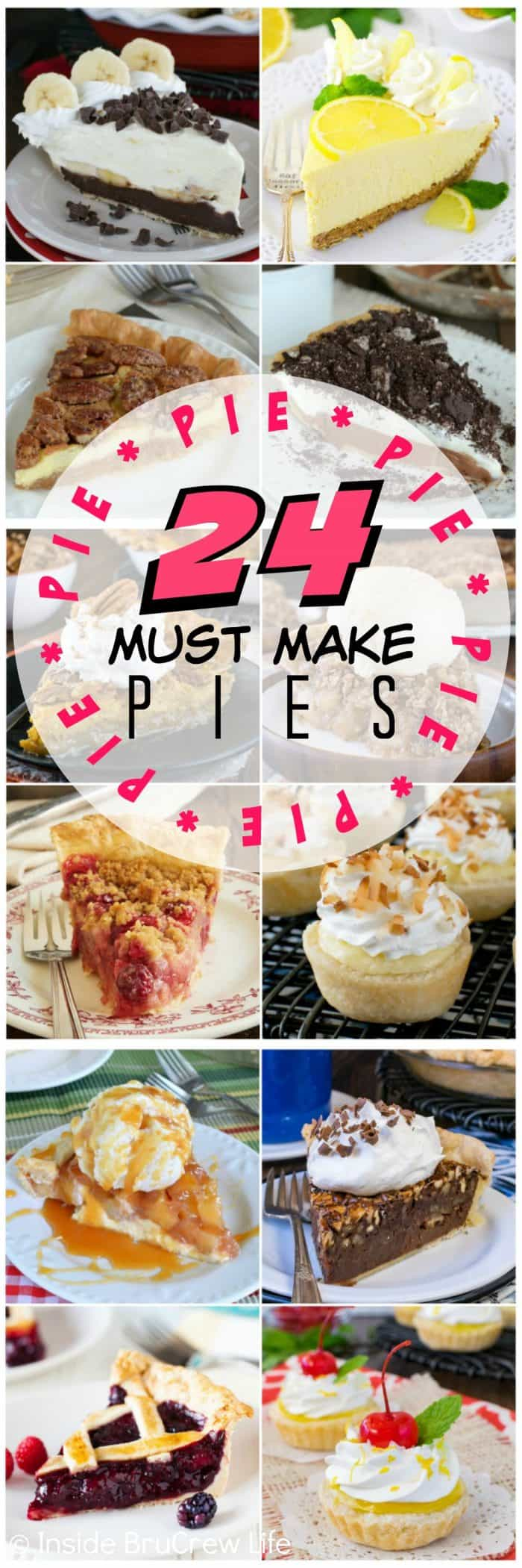 24 Must Make Pie Recipes - here are 24 of the best pies that would impress anyone at dinner. You will find fruit, cream, cheesecake, chocolate, and mini pie recipes that need to happen in your kitchen.