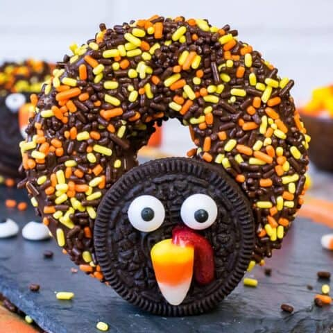 Chocolate Covered Apple Ring Turkeys