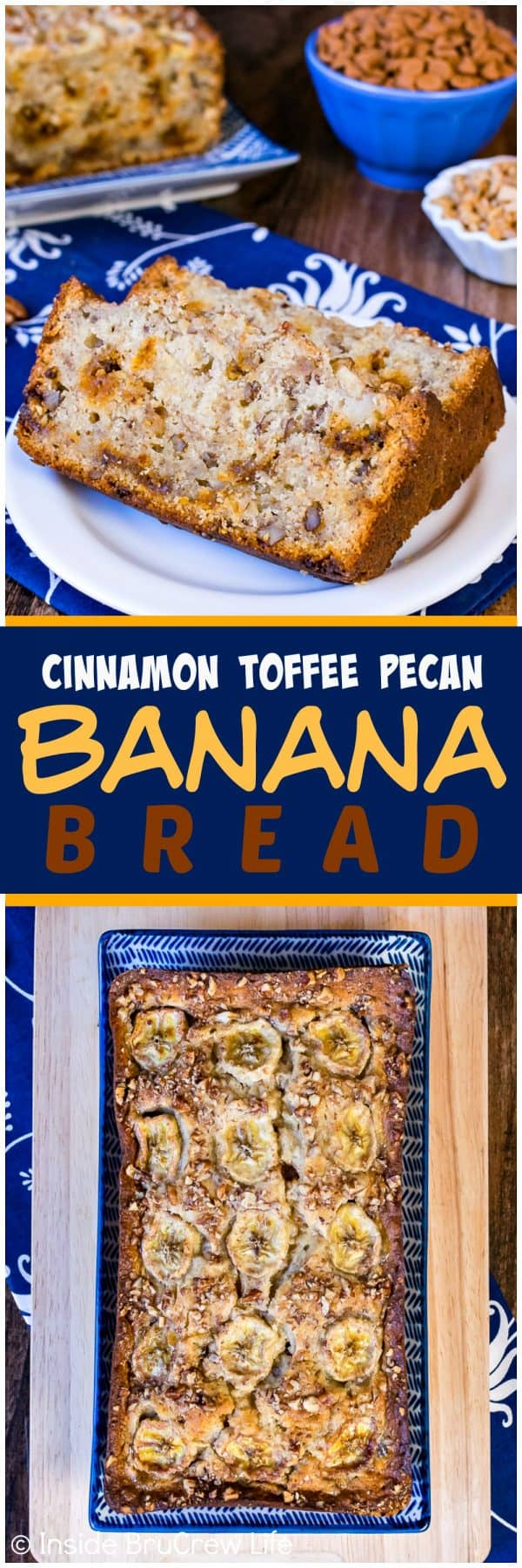 Cinnamon Toffee Pecan Banana Bread - this easy sweet bread is loaded with cinnamon chips and pecans. It's a great recipe to use up those ripe bananas on your counter!