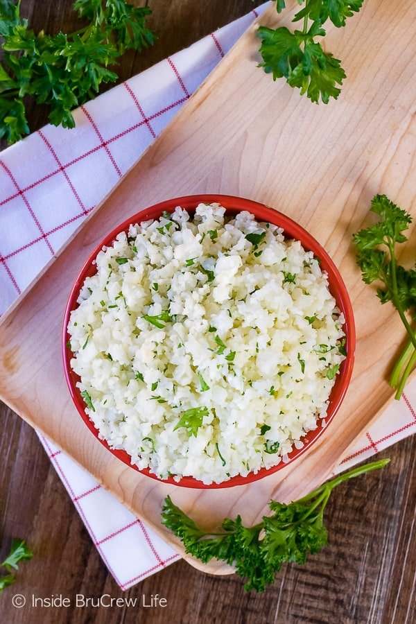 Easy Cauliflower Rice - process and cook a head of cauliflower to make this healthy rice substitution. Easy recipe to use in so many dinners!