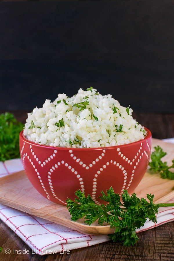 Easy Cauliflower Rice - a head of cauliflower can be processed and cooked to look and taste like rice. Easy recipe to substitute for healthy dinners.