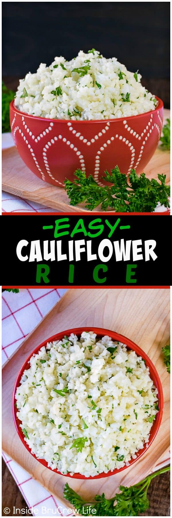 Easy Cauliflower Rice - a head of cauliflower can be shredded and cooked to look and taste like rice. Easy recipe to use in healthy dinners!