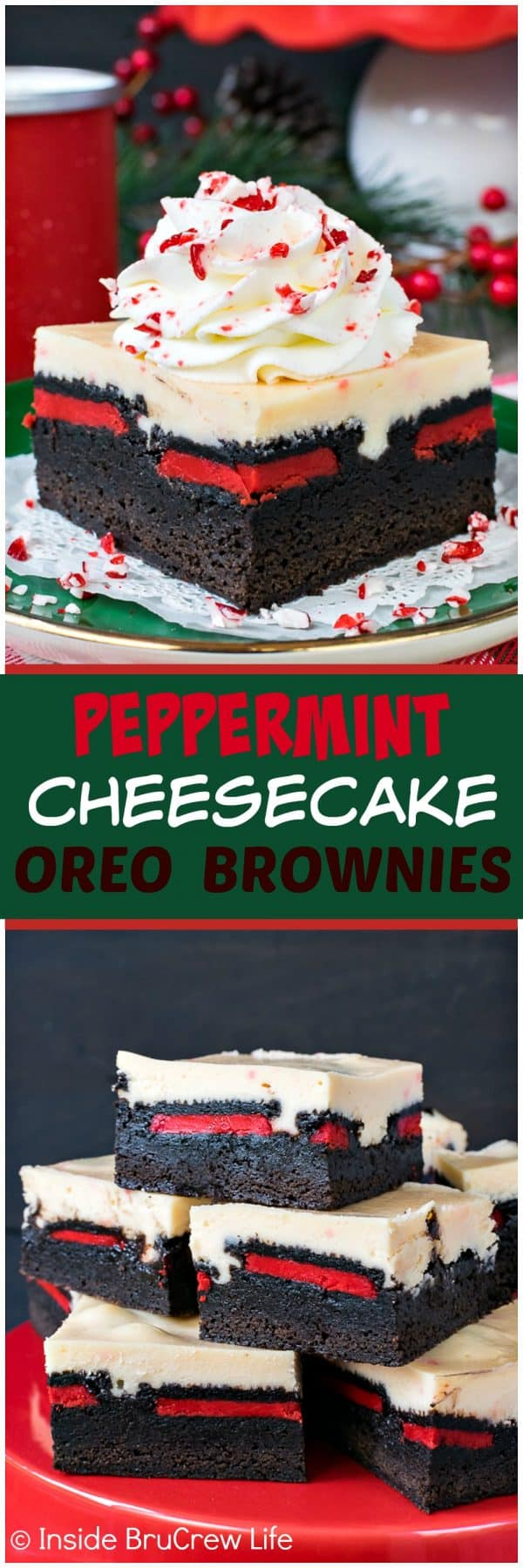 Peppermint Cheesecake Oreo Brownies - layers of homemade brownies, cookies, and cheesecake creates an amazing and delicious holiday dessert. Great recipe for Christmas parties!