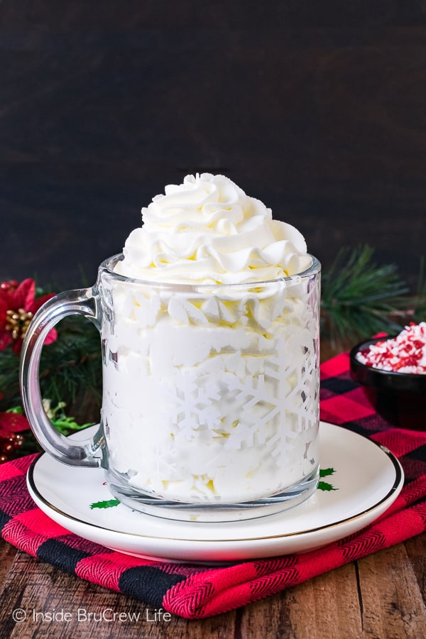 Peppermint Whipped Cream - this creamy and fluffy peppermint topping adds so much to Christmas recipes!