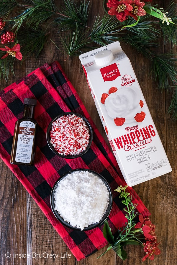 Peppermint Whipped Cream ingredients