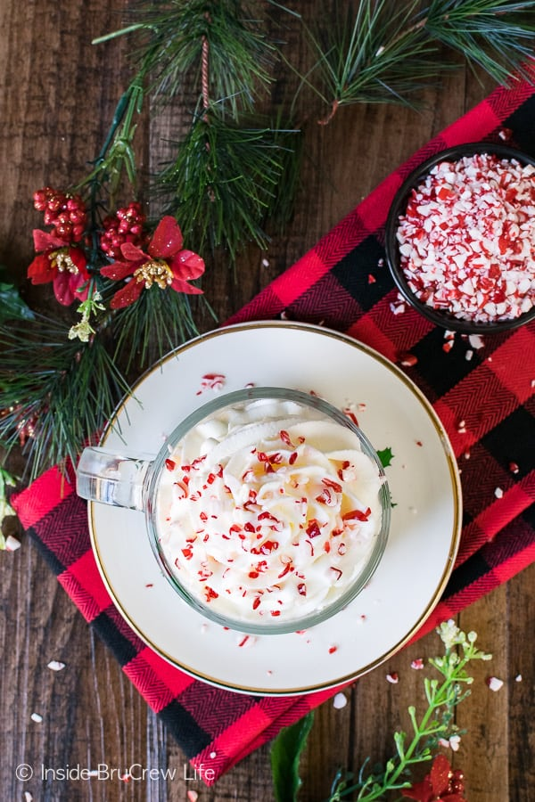 Peppermint Whipped Cream - this creamy peppermint topping is great for topping most holiday desserts. Great Christmas recipe!