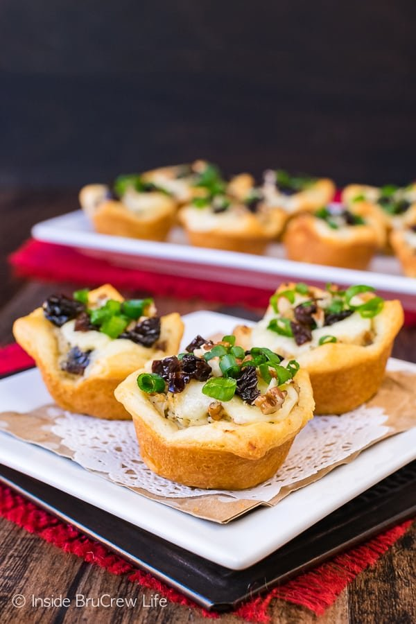Sweet and Spicy Chicken Salad Crescent Bites - chicken salad and melted cheese inside a little Pillsbury Crescent Roll cup makes a great appetizer. Easy game day recipe!