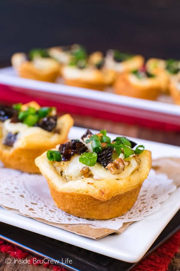 Sweet and Spicy Chicken Salad Crescent Bites - little Pillsbury Crescent Roll cups filled with chicken salad and melted cheese makes a great appetizer. Easy recipe for game day parties!