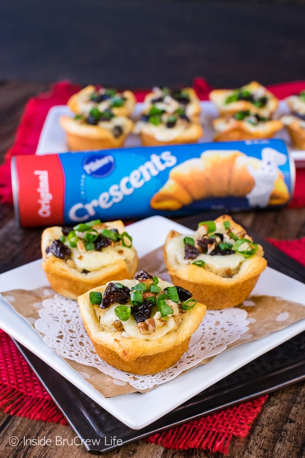 Sweet and Spicy Chicken Salad Crescent Bites - melted cheese and chicken salad inside a little Pillsbury Crescent Roll cup makes a great game day appetizer recipe.