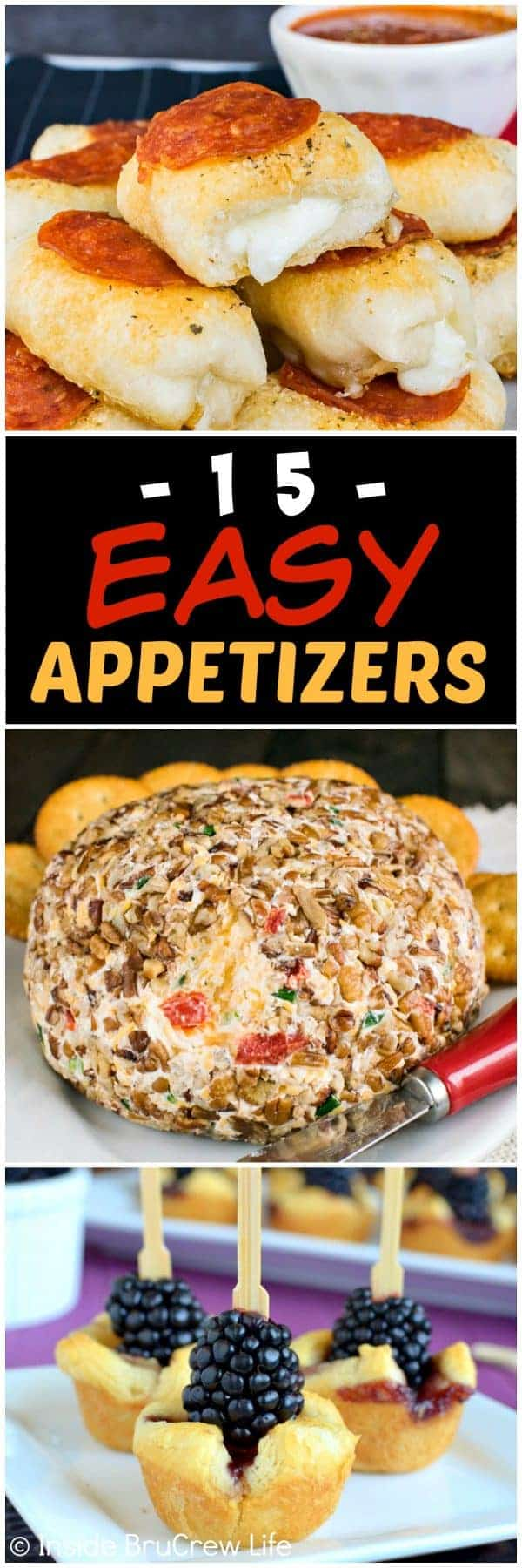 15 Easy Appetizer Recipes - easy appetizers that are family approved. Dips and appetizers are a fun snack at any game day or holiday party!