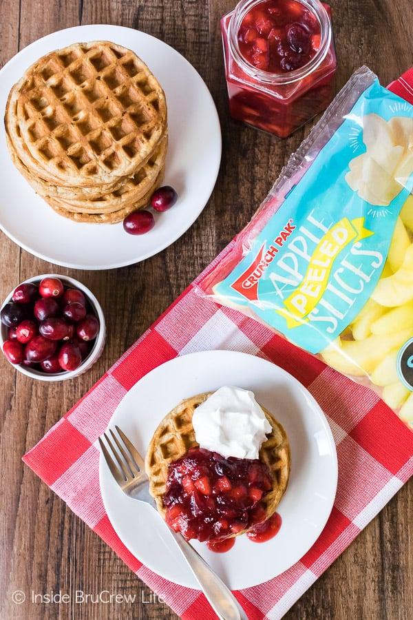 Spiced Apple Waffles - easy homemade waffles topped with apple cranberry sauce makes a delicious breakfast. Easy recipe to make ahead of time!