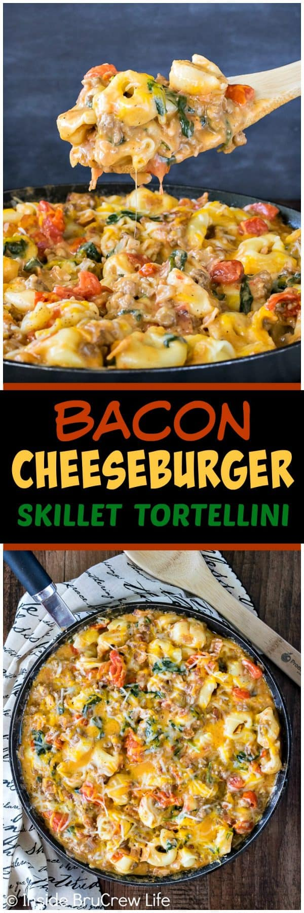 Bacon Cheeseburger Skillet Tortellini - this quick and easy pasta dinner is loaded with meats, veggies, and cheese. Great 30 minute dinner recipe for busy nights!