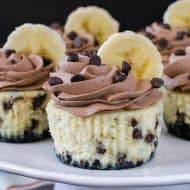 Mini Banana Chocolate Chip Cheesecakes