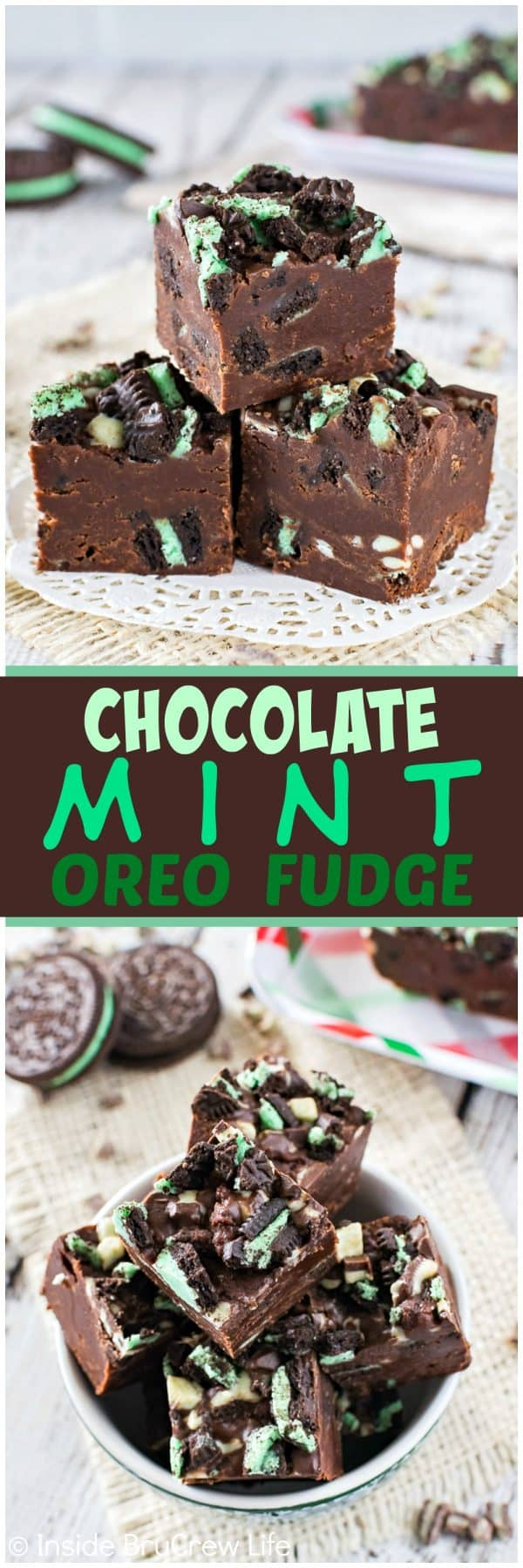 Chocolate Mint Oreo Fudge - these little creamy squares of mint fudge are loaded with cookie pieces and mint chips. Easy recipe to make for holiday parties!