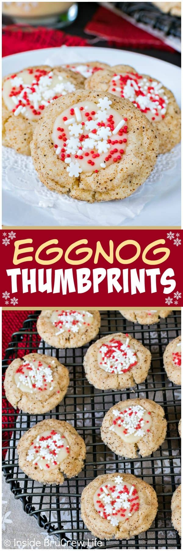 Eggnog Thumbprints - a simple spice cookie filled with eggnog chocolate and sprinkles will add some fun to your cookie trays. Easy recipe for Christmas cookie exchanges!