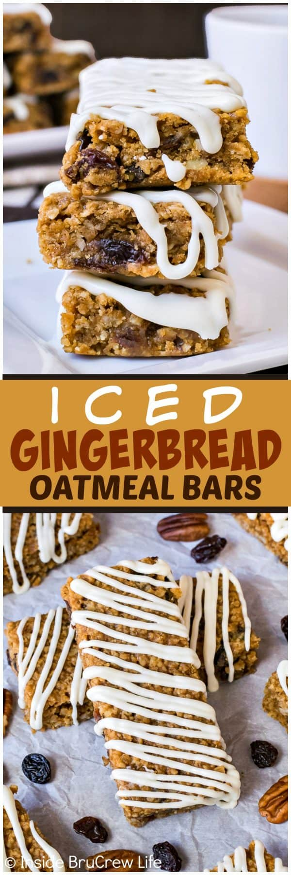 Iced Gingerbread Oatmeal Bars - sweet baked oatmeal bars loaded with spices, raisins, and nuts are delicious any time of day. Great recipe for breakfast or after school snacks!