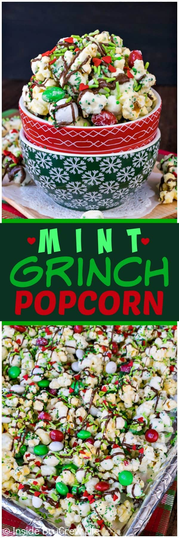 Mint Grinch Popcorn - this easy chocolate covered popcorn is loaded with mint candies, chocolate, and lots of sprinkles. Easy recipe for holiday movie nights!