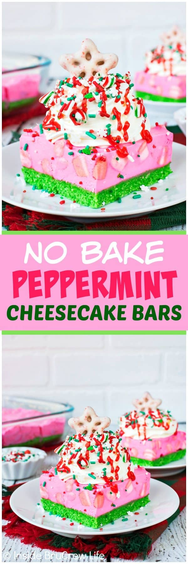 No Bake Peppermint Cheesecake Bars - bright colors and lots of sprinkles makes this pink fluffy cheesecake stand out at holiday parties. Easy no bake recipe for Christmas!