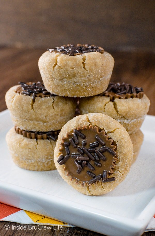 Peanut Butter Cup Cookies - these little cookie cups are a must make for holiday parties. Easy recipe to customize with different sprinkles!