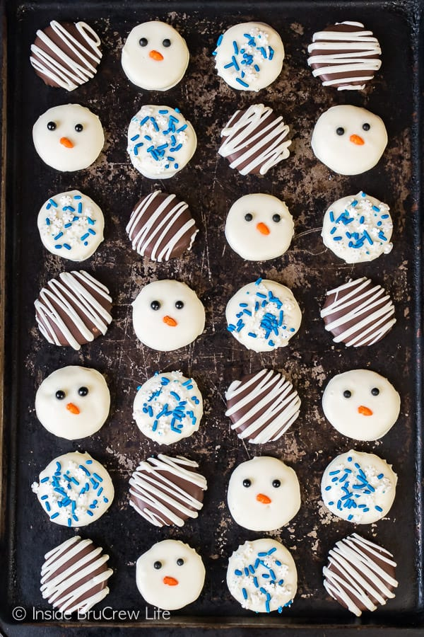 Peppermint Cream Patties - use different chocolates and sprinkles to make these homemade candies stand out. Great recipe for Christmas parties!