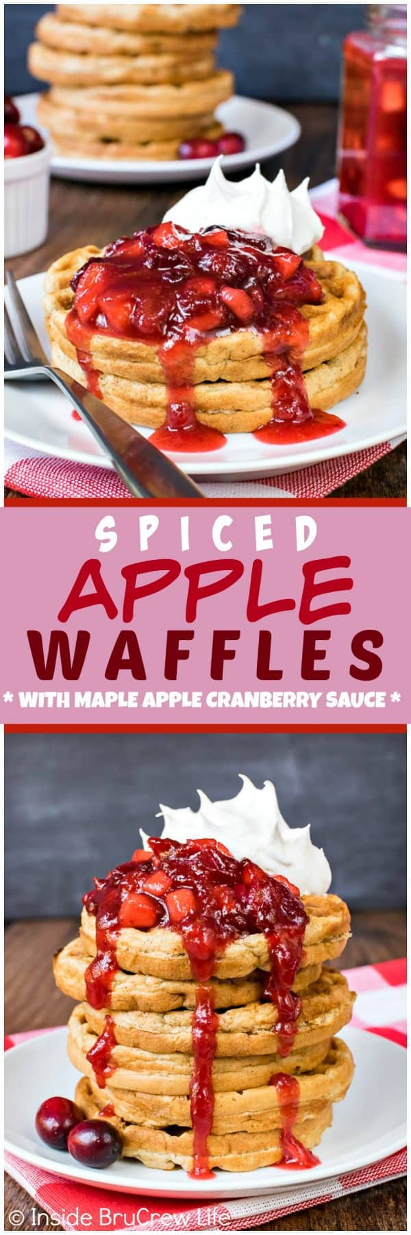 Spiced Apple Waffles - these easy homemade waffles are loaded with shredded apples and spices. Easy recipe to make ahead of time for breakfast.