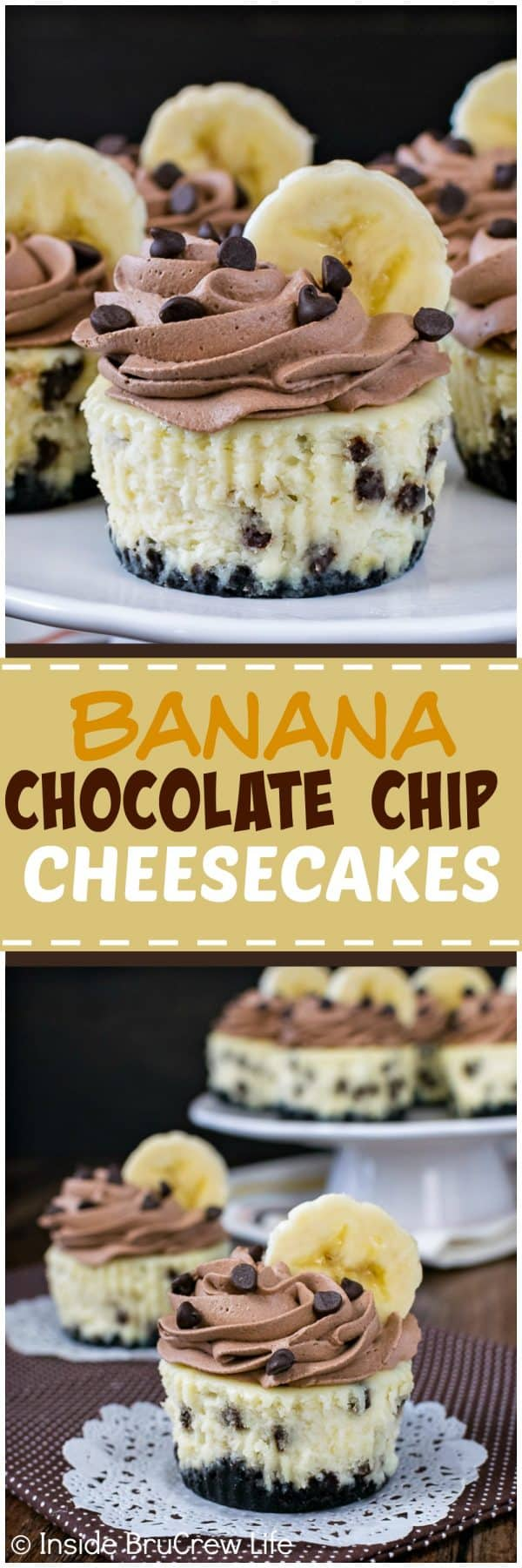 Banana Chocolate Chip Cheesecakes - these little cheesecakes are full of real banana flavor and lots of chocolate chips. A homemade chocolate whipped cream with fresh banana slices makes them look so pretty. Perfect recipe for parties!