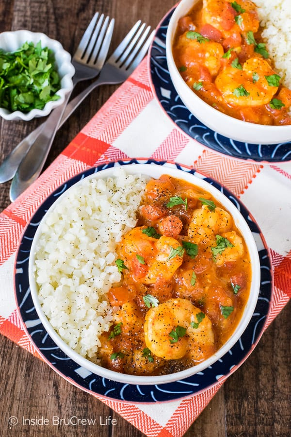 Coconut Curry Shrimp - serve this easy shrimp and veggie sauce over cauliflower rice. Easy recipe to make when you are eating healthy.
