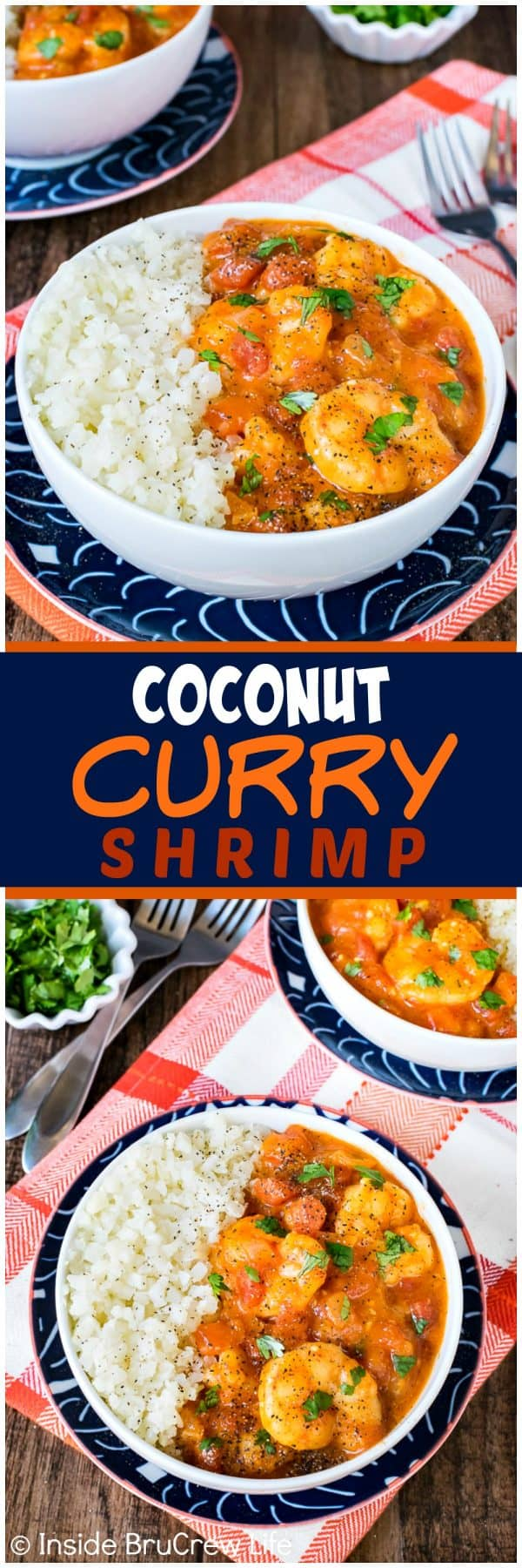Coconut Curry Shrimp - this easy curry sauce is loaded with veggies and shrimp. This recipe can be made and serve in less than 30 minutes. Awesome healthy dinner for busy nights.