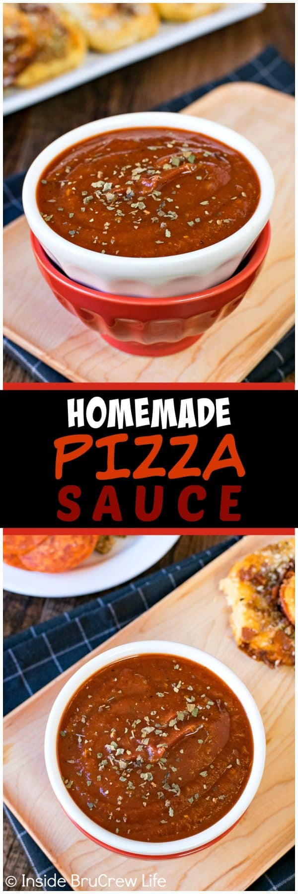 Homemade Pizza Sauce - this easy tomato sauce comes together in minutes and is full of flavor. Great recipe to use on homemade pizzas or for dipping pizza appetizers in.