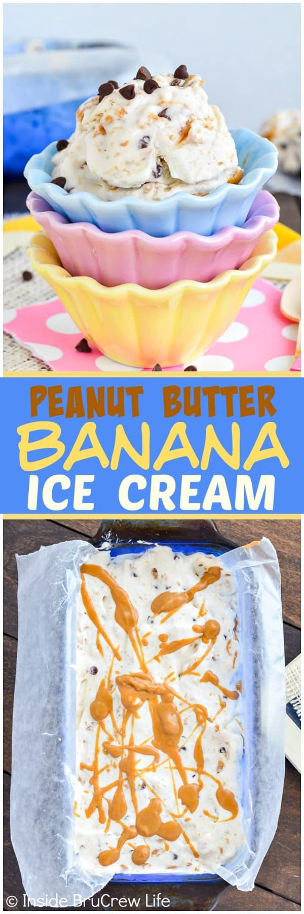 Peanut Butter Banana Ice Cream - swirls of peanut butter and chocolate chips add a great taste and texture to this easy banana ice cream. Great recipe to make when you are craving something sweet.