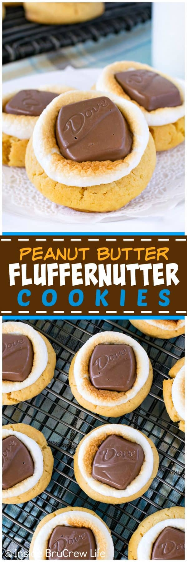 Peanut Butter Fluffernutter Cookies - soft peanut butter cookies topped with toasted marshmallows and peanut butter candy bars makes a great snack to go with milk. Easy recipe for after school or cookie jars!