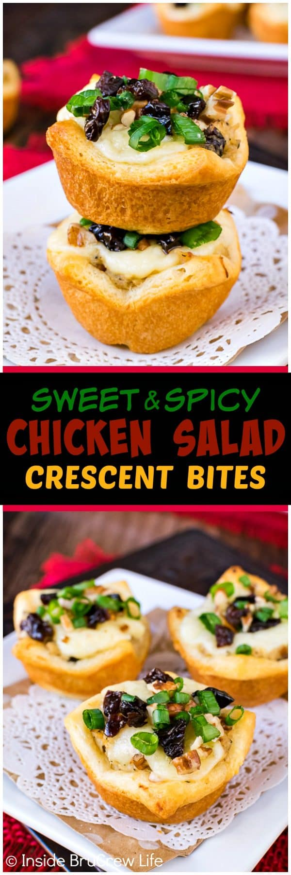 Sweet and Spicy Chicken Salad Crescent Bites - little Pillsbury Crescent Roll cups filled with melted cheese and chicken salad makes a delicious appetizer. Easy recipe to share at game day parties!