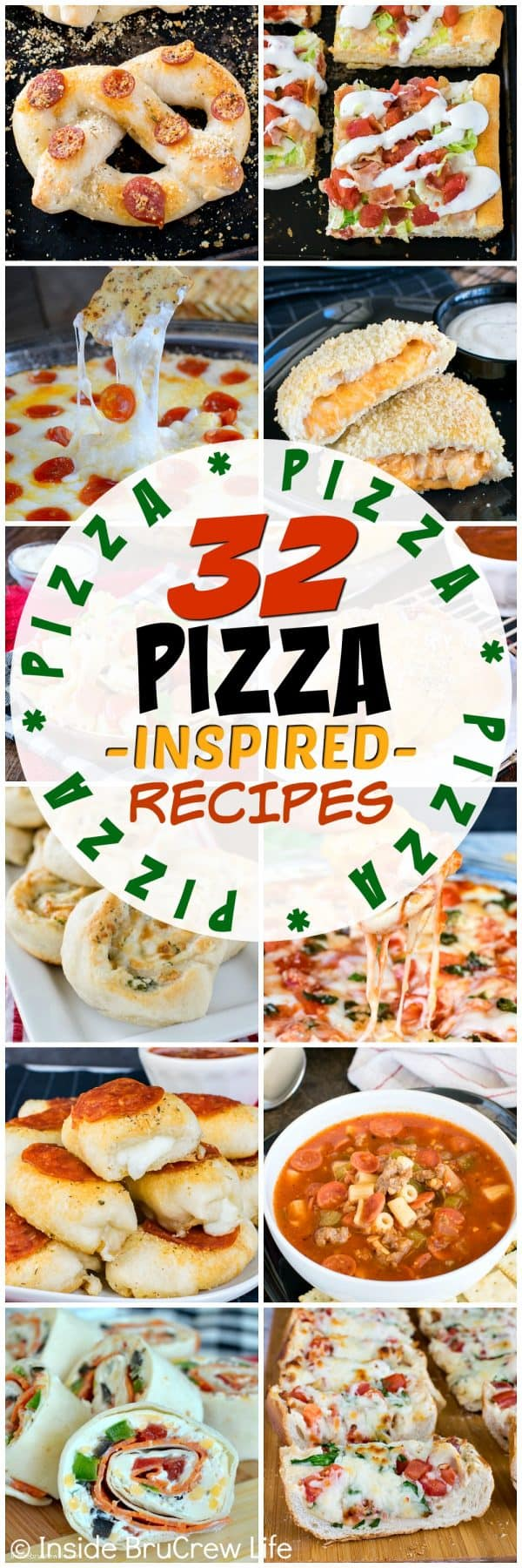 32 Pizza Inspired Recipes - 32 different appetizers, dinners, and snacks that are loaded with pizza toppings. Great recipes for game day parties!