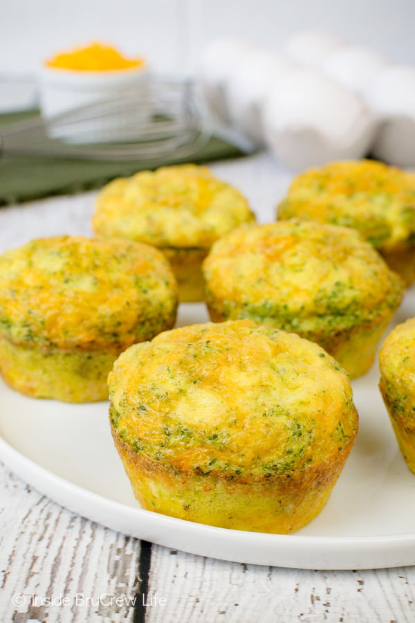 Broccoli Cheese Egg Muffins - three ingredient muffins that can be made ahead of time. Great breakfast recipe to freeze for later too! #eggs #broccoli #healthy #breakfast #cheese #recipe #easy #freezerfriendly