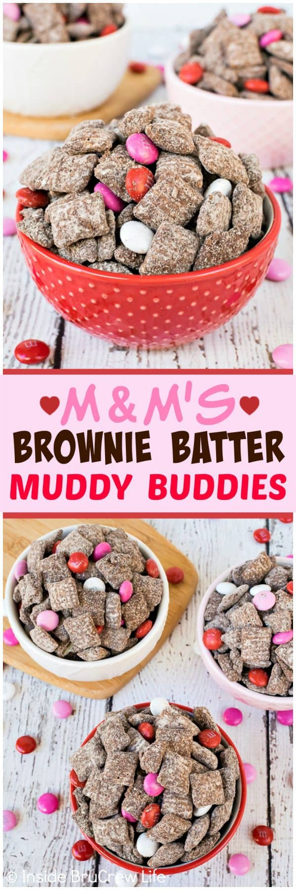 M&M's Brownie Batter Muddy Buddies - this easy no bake snack mix is loaded with chocolate candies and brownie flavor. Great recipe to make and eat in under ten minutes! #brownie #snackmix #nobake #muddybuddies #puppychow #chex #mms #valentinesday #easysnack #dessert