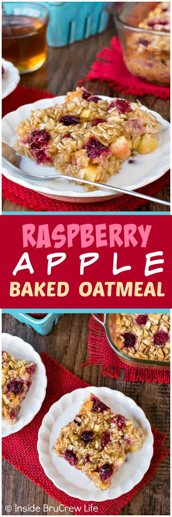 Raspberry Apple Baked Oatmeal - make a pan of baked oatmeal loaded with fruit and honey for an easy breakfast choice. Great recipe to make ahead of time for busy mornings! #oatmeal #apple #raspberry #bakedoatmeal #easy #recipe #breakfast