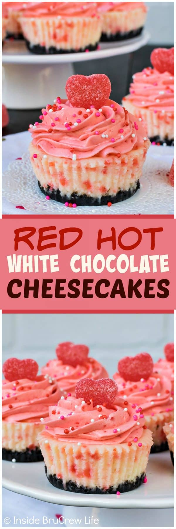 Red Hot White Chocolate Cheesecakes - sprinkles and cinnamon jelly hearts add a fun flair to the top of the pink Red Hot mousse. Pretty recipe to share at Valentine's day parties! #cheesecake #whitechocolate #cinnamon #redhot #valentinesday #Oreocookies