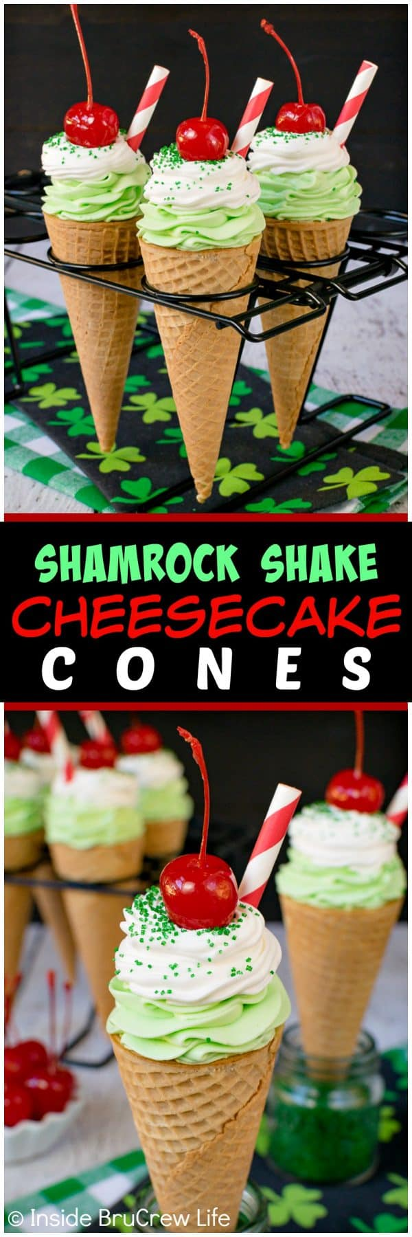 No Bake Shamrock Shake Cheesecake Cones - easy creamy mint cheesecake swirled in cones and topped with green sugar, cherries, and a straw makes these look like the popular drink. Easy no bake recipe to enjoy! #mint #shamrockshake #stpatricksday #nobakedesserts #recipe #cheesecake #smalldesserts