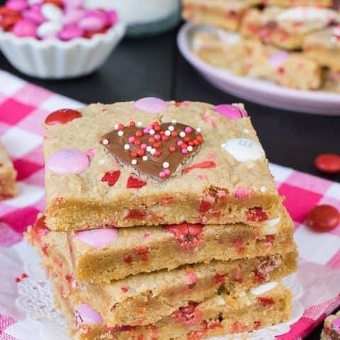 Valentine Peanut Butter Heart Cookie Bars
