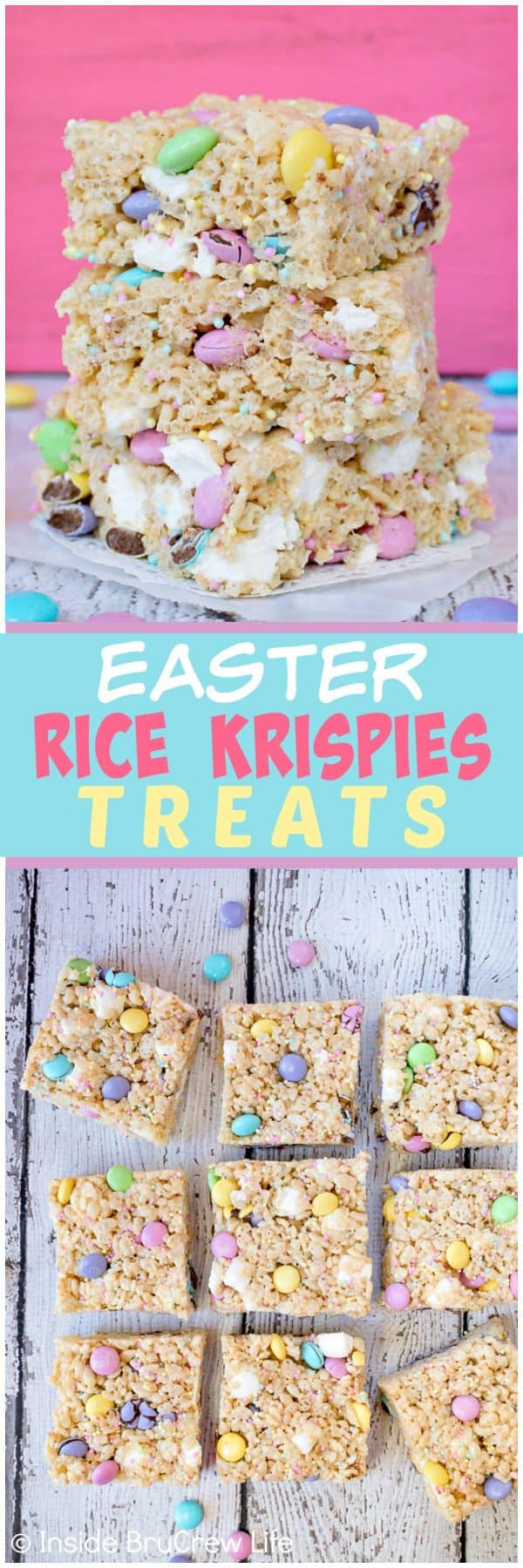 Easter Rice Krispies Treats - adding pastel sprinkles and candies make these fun treats so irresistible and pretty. Great recipe to share at Easter parties and dinners. #nobake #ricekrispies #sprinkles #dessert #Easter #ricekrispiestreats #candy