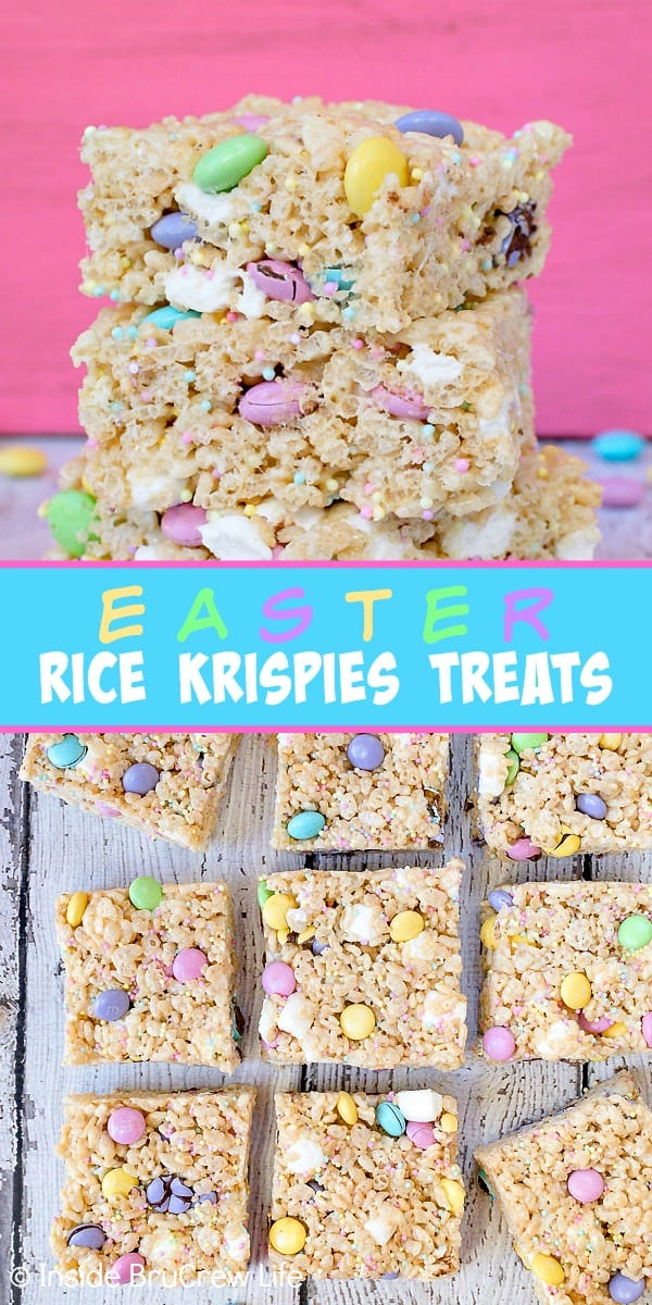 Easter Rice Krispies Treats - lots of sprinkles and candies make these fun cereal treats so irresistible and pretty. Great recipe to share at Easter parties and dinners.