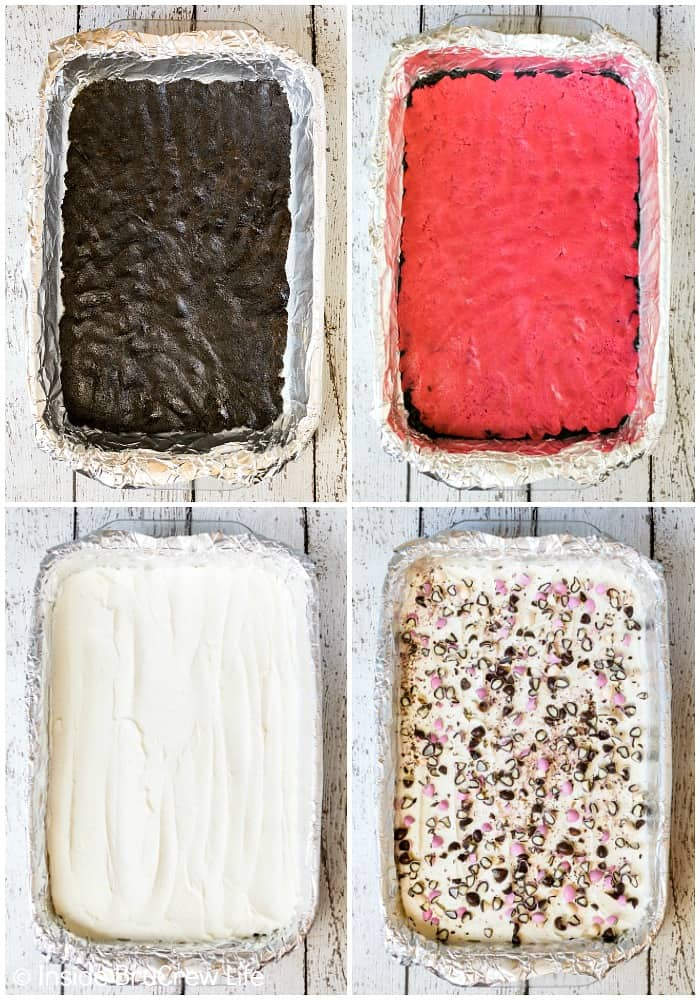 Neapolitan Sugar Cookie Bars - three layers of cookie dough and frosting make this such a fun dessert recipe #cookies #chocolate #strawberry #vanilla #sugarcookies #easydesserts #barcookies