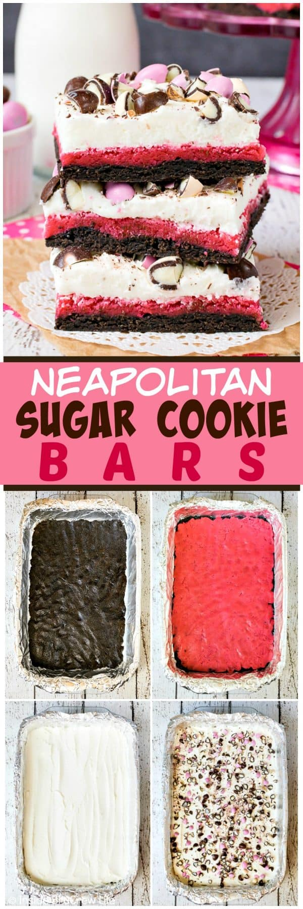 Neapolitan Sugar Cookie Bars - layers of chocolate and strawberry cookies topped with vanilla frosting and candies make these a fun dessert. Great recipe to make for parties and picnics. #cookies #chocolate #strawberry #vanilla #sugarcookies #easydesserts #barcookies